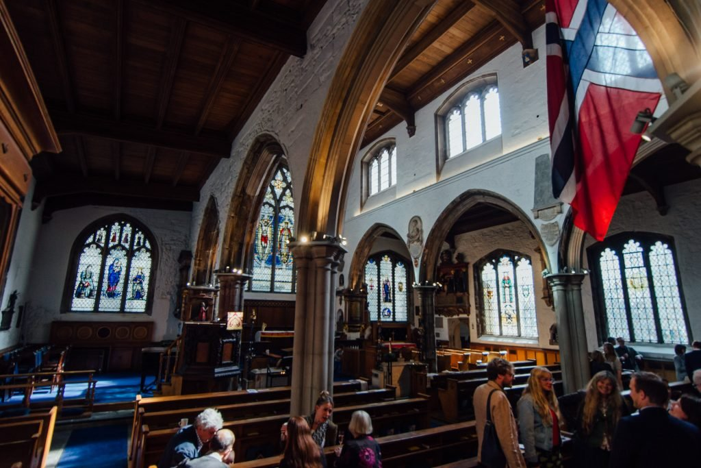 Congregation at St Olave Church in London