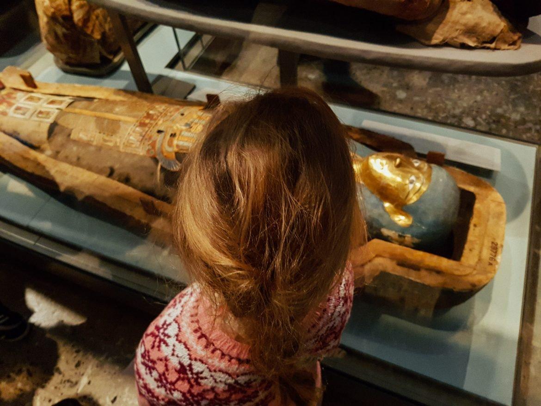 Girl watching mummies British Museum