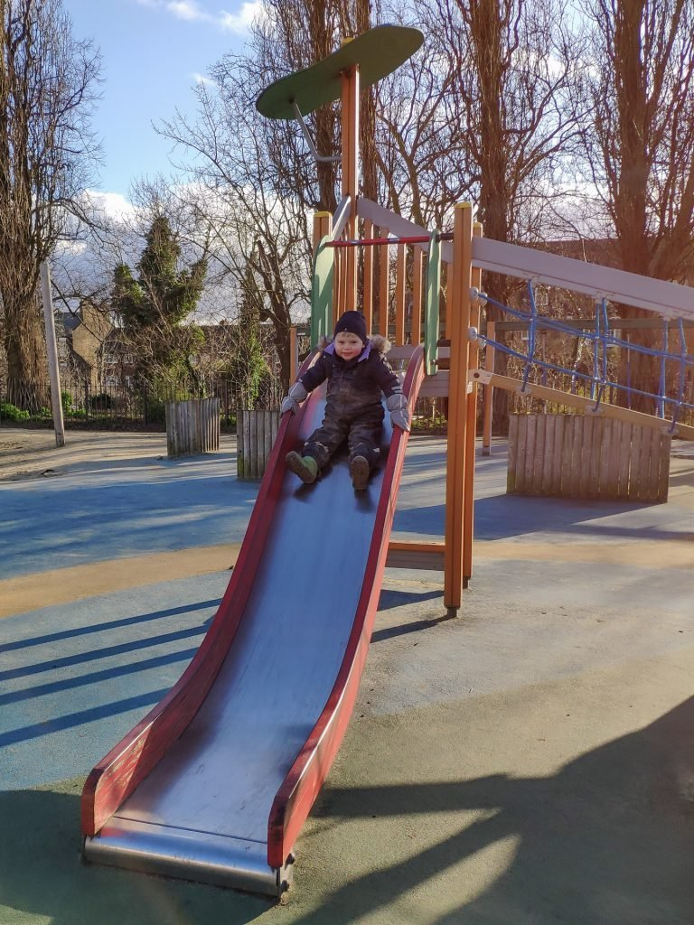 The slide was one of the highlights of the playground