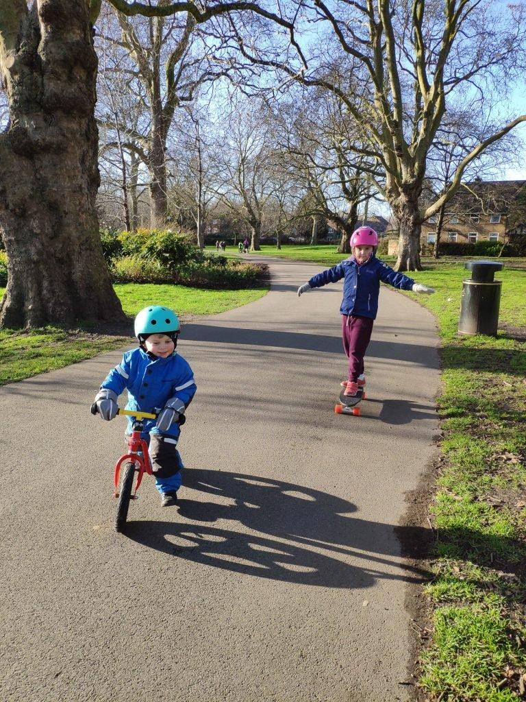 Skating and biking in Southwark Park