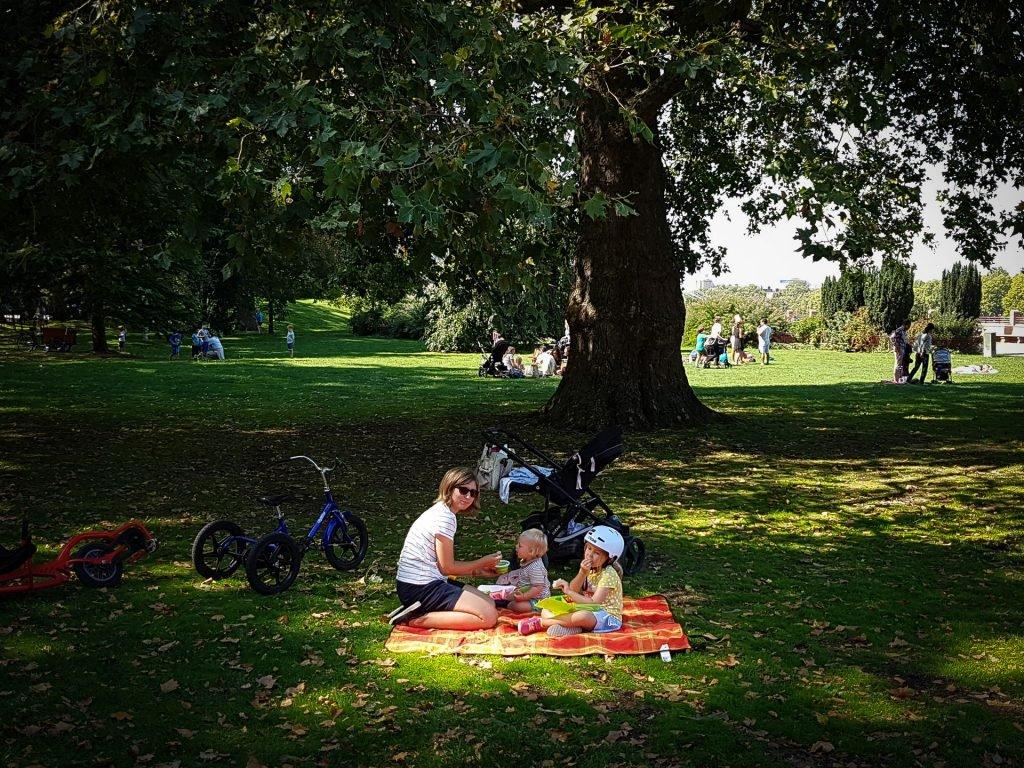 family having picnic in battersea park