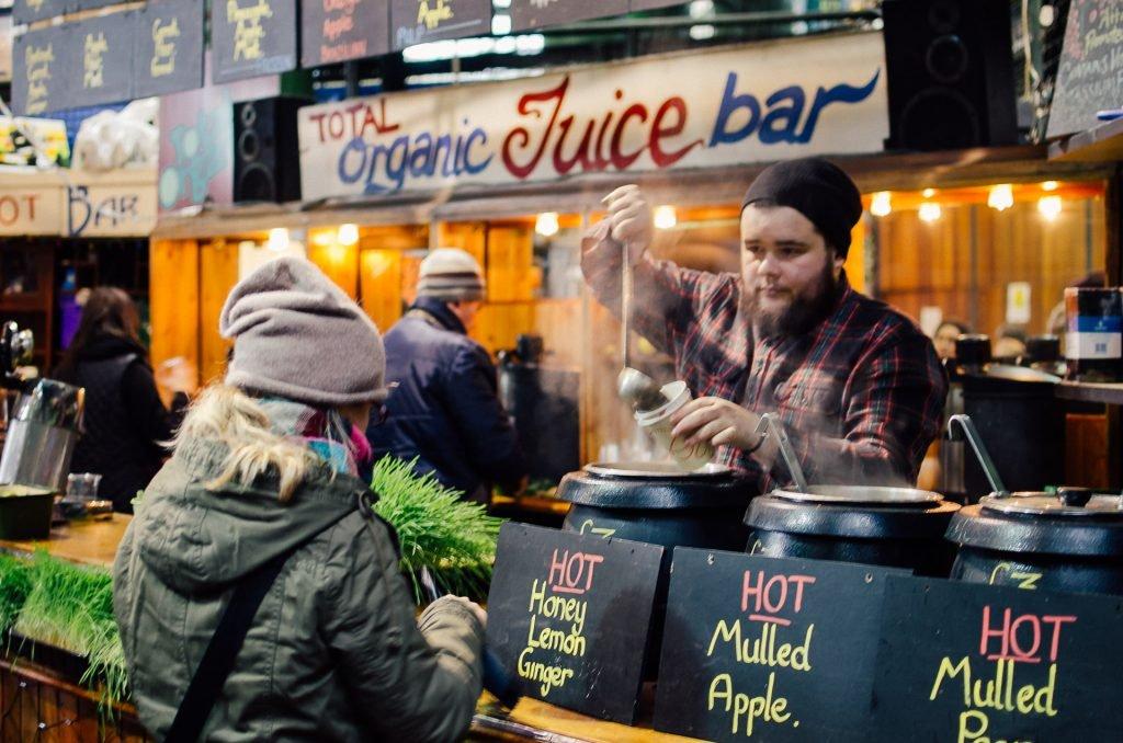 organic juice bar at borough market in lonodn