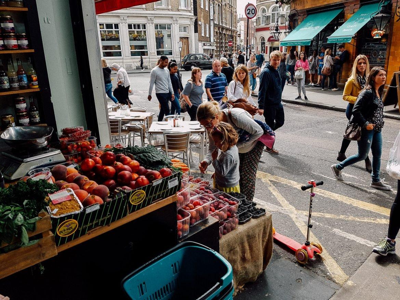 buying apples at borough market