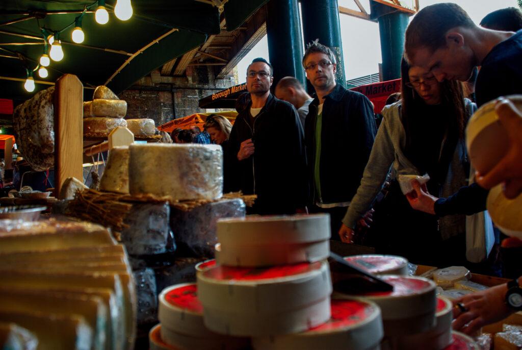 Punters buying cheese at Borough Market