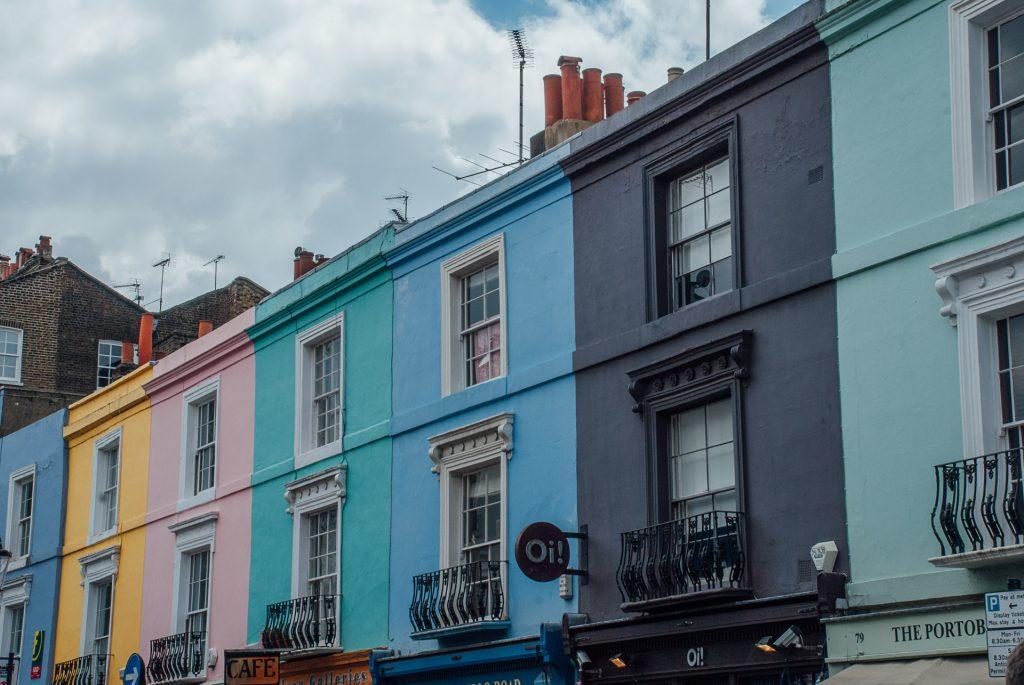 colourful houses, portobello road market
