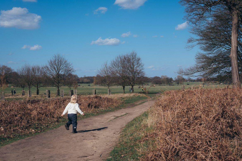 boy walking in richmond park