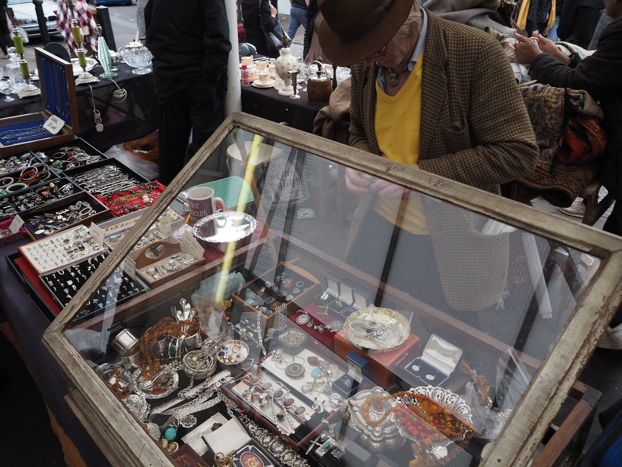 Camden Passage Market Trader selling antique jewellery