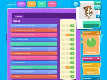 Main Mathletics Dashboard