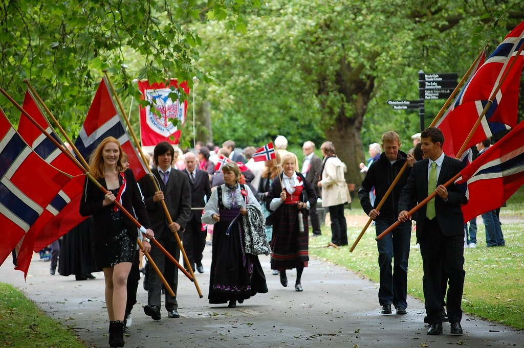 Norway's national day with Norwegian flags celebrated in Southwark Park